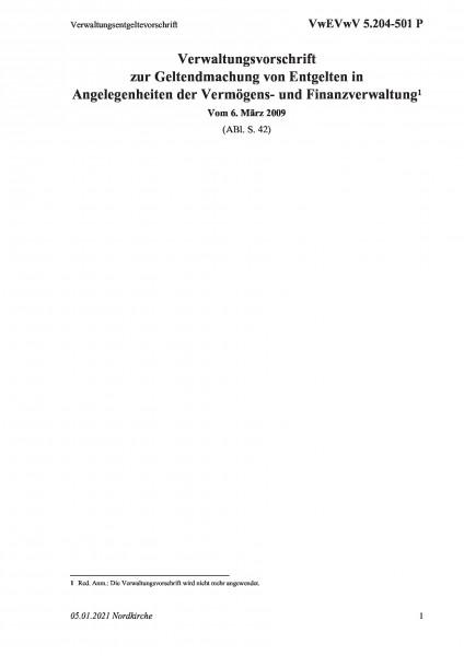 5.204-501 P Verwaltungsentgeltevorschrift
