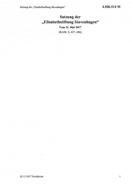 """4.506-514 M Satzung der """"Elisabethstiftung Stavenhagen"""""""