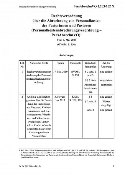 5.203-102 N Personalkostenabrechnungsverordnung