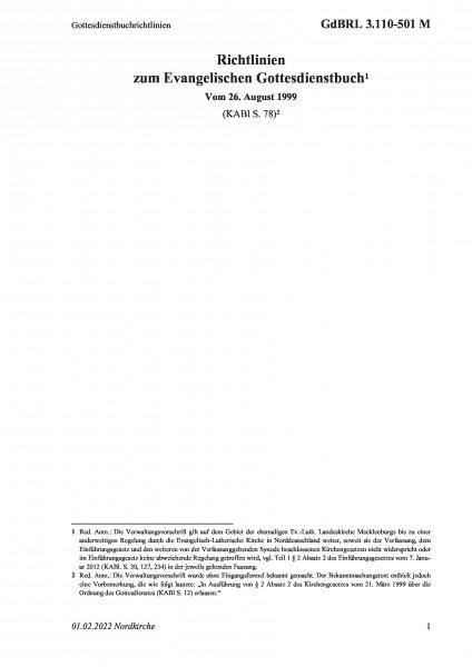 3.110-501 M Gottesdienstbuchrichtlinien