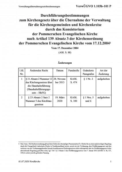 1.103b-101 P Verwaltungsübernahmegesetzbestimmungen