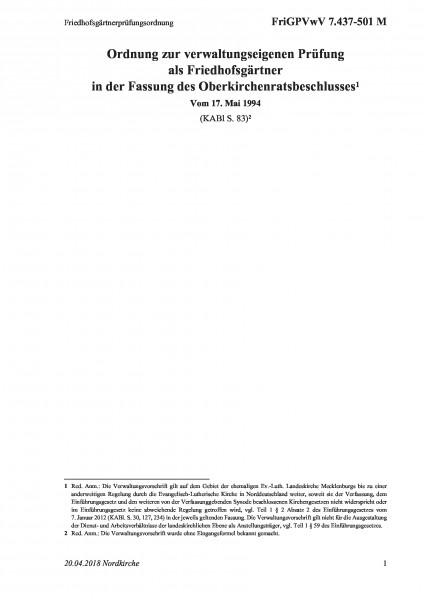 7.437-501 M Friedhofsgärtnerprüfungsordnung