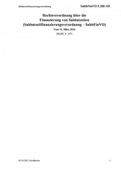 5.200-101 Sabbatzeitfinanzierungsverordnung