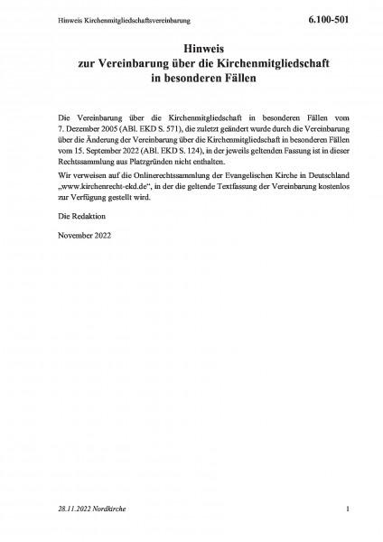 6.100-501 Hinweis Kirchenmitgliedschaftsvereinbarung