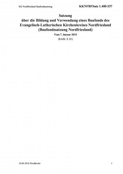 1.400-537 KK Nordfriesland Baufondssatzung
