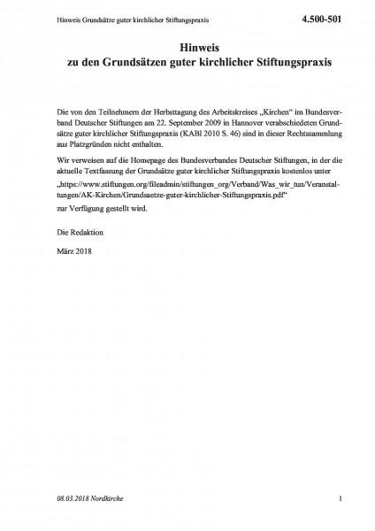 4.500-501 Hinweis Grundsätze guter kirchlicher Stiftungspraxis