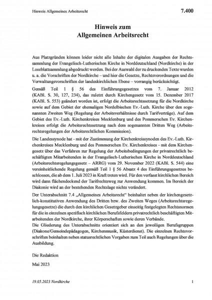 7.400 Hinweis Allgemeines Arbeitsrecht