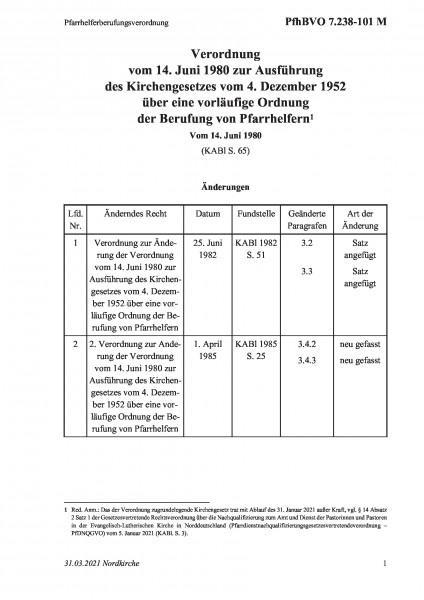 7.238-101 M Pfarrhelferberufungsverordnung