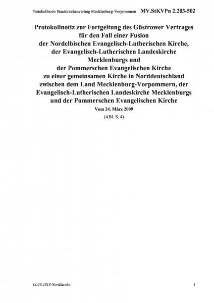 2.203-502 Protokollnotiz Staatskirchenvertrag Mecklenburg-Vorpommern