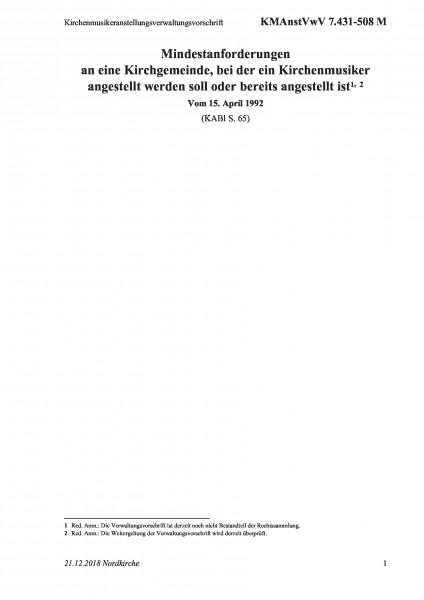 7.431-508 M Kirchenmusikeranstellungsverwaltungsvorschrift
