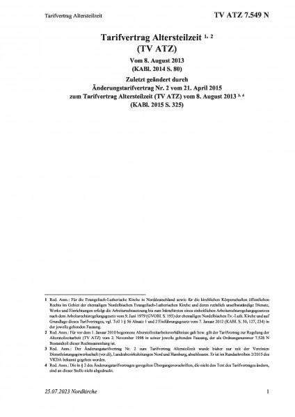 7.549 N Tarifvertrag Altersteilzeit