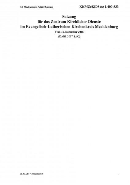 1.400-533 KK Mecklenburg ZeKiD Satzung
