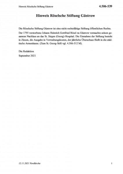 4.506-539 Hinweis Röselsche Stiftung Güstrow