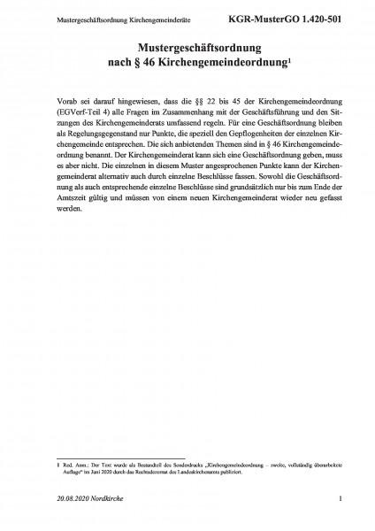 1.420-501 Mustergeschäftsordnung Kirchengemeinderäte