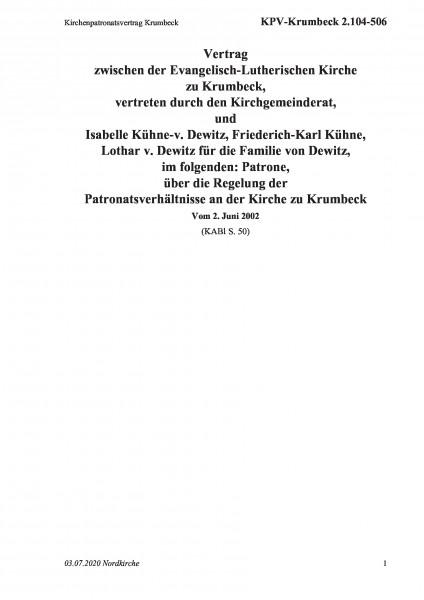 2.104-506 Kirchenpatronatsvertrag Krumbeck