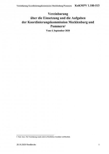 1.100-513 Vereinbarung Koordinierungskommission Mecklenburg/Pommern