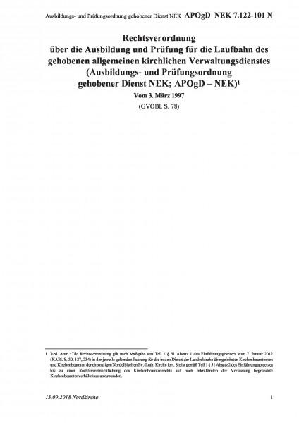 7.122-101 N Ausbildungs- und Prüfungsordnung gehobener Dienst NEK