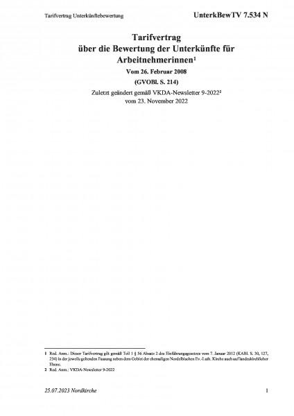 7.534 N Tarifvertrag Unterkünftebewertung