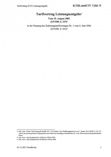 7.561 N Tarifvertrag KTD-Leistungsentgelte