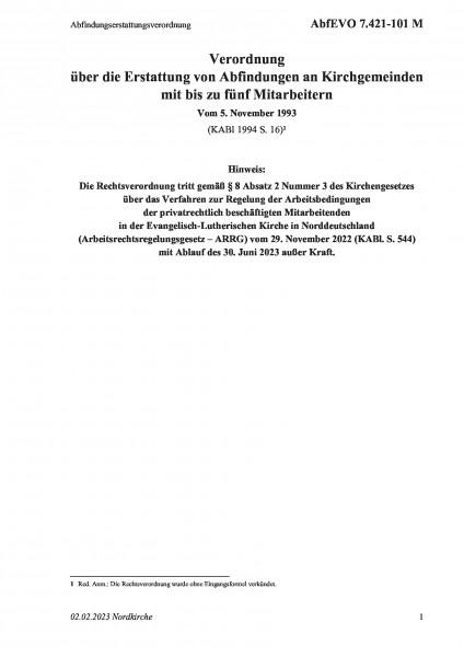 7.421-101 M Abfindungserstattungsverordnung