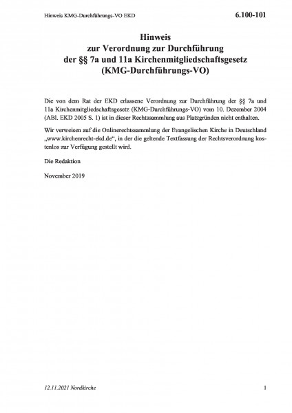 6.100-101 Hinweis KMG-Durchführungs-VO EKD