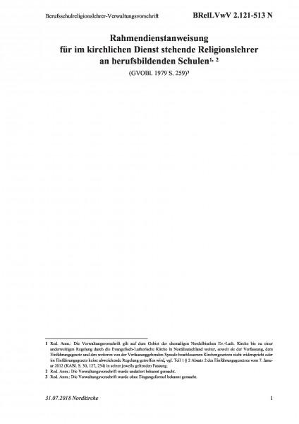 2.121-513 N Berufsschulreligionslehrer-Verwaltungsvorschrift