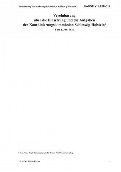 1.100-512 Vereinbarung Koordinierungskommission Schleswig-Holstein