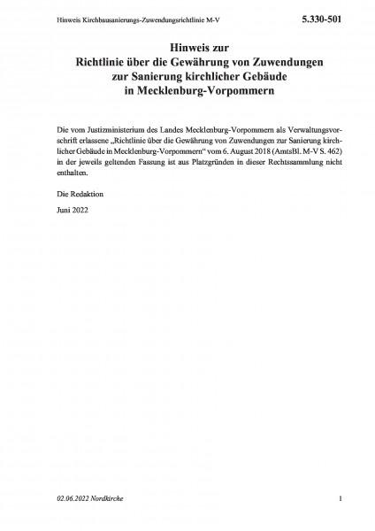 5.330-501 Hinweis Kirchbausanierungs-Zuwendungsrichtlinie M-V