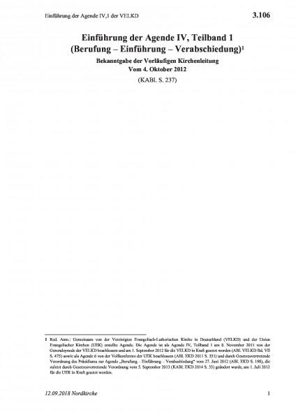 3.106 Einführung der Agende IV,1 der VELKD