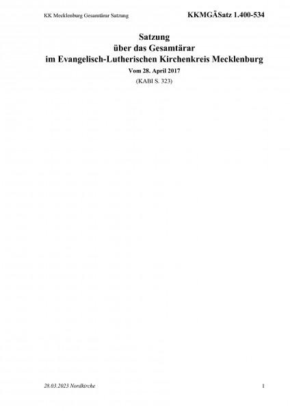 1.400-534 KK Mecklenburg Gesamtärar Satzung