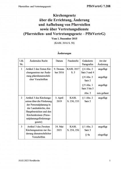 7.208 Pfarrstellen- und Vertretungsgesetz