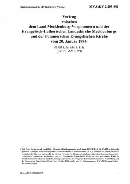 2.203-501 Staatskirchenvertrag MV (Güstrower Vertrag)