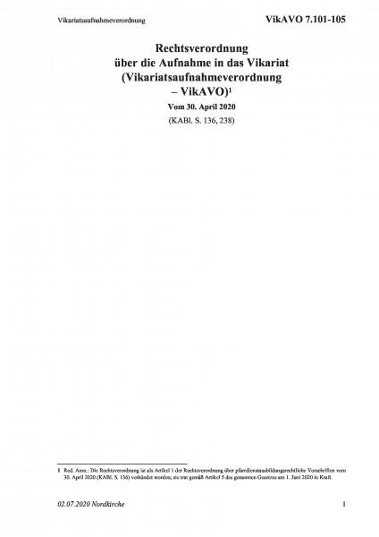 7.101-105 Vikariatsaufnahmeverordnung