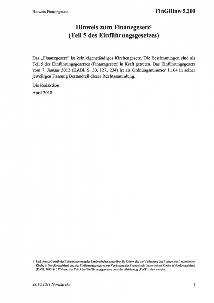 5.200 Hinweis Finanzgesetz
