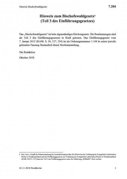 7.204 Hinweis Bischofswahlgesetz
