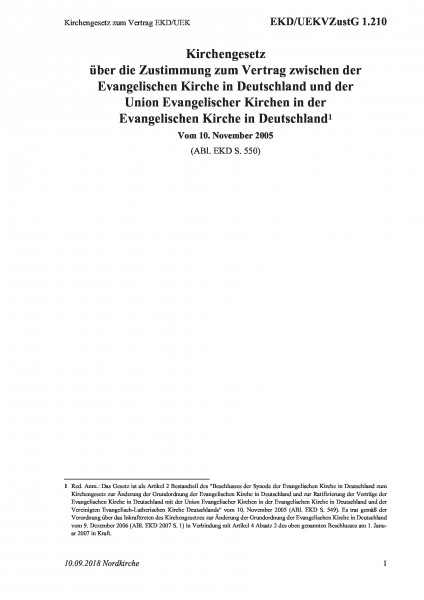 1.210 Kirchengesetz zum Vertrag EKD/UEK