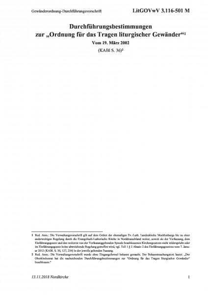 3.116-501 M Gewänderordnung-Durchführungsvorschrift