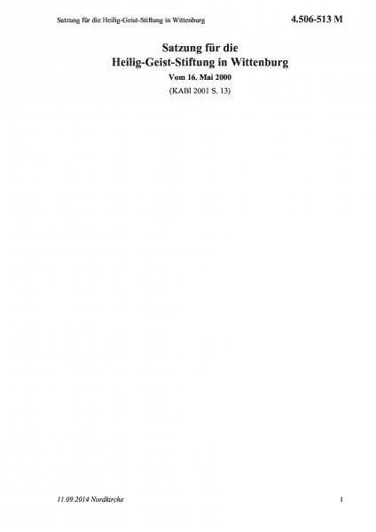 4.506-513 M Satzung für die Heilig-Geist-Stiftung in Wittenburg