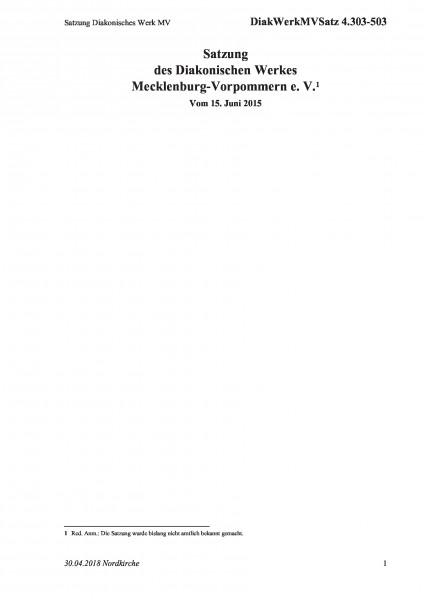 4.303-503 Satzung Diakonisches Werk MV