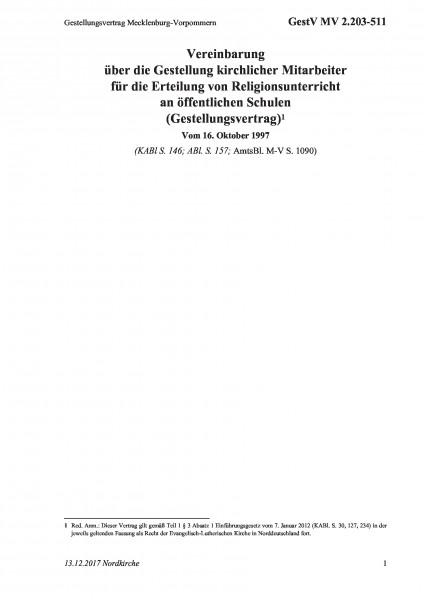 2.203-511 Gestellungsvertrag Mecklenburg-Vorpommern