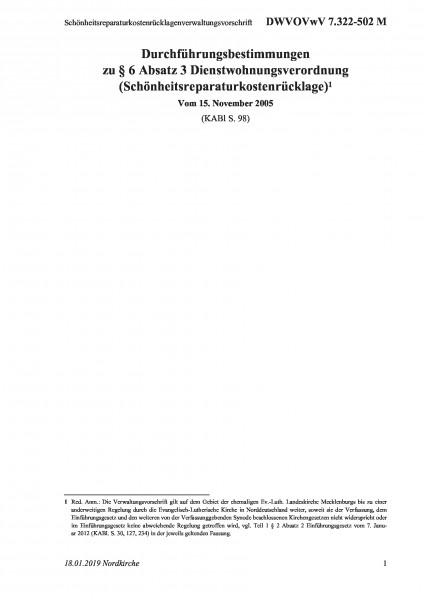 7.322-502 M Schönheitsreparaturkostenrücklagenverwaltungsvorschrift