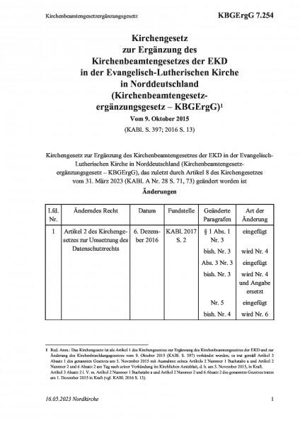 7.254 Kirchenbeamtengesetzergänzungsgesetz