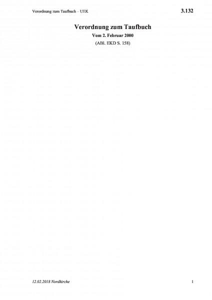 3.132 Verordnung zum Taufbuch – UEK