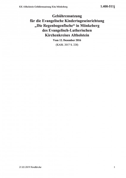 1.400-511j KK Altholstein Gebührensatzung Kita Mönkeberg
