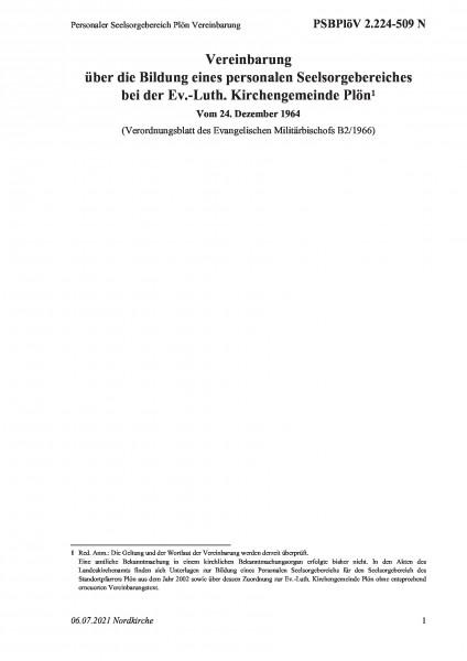 2.224-509 N Personaler Seelsorgebereich Plön Vereinbarung