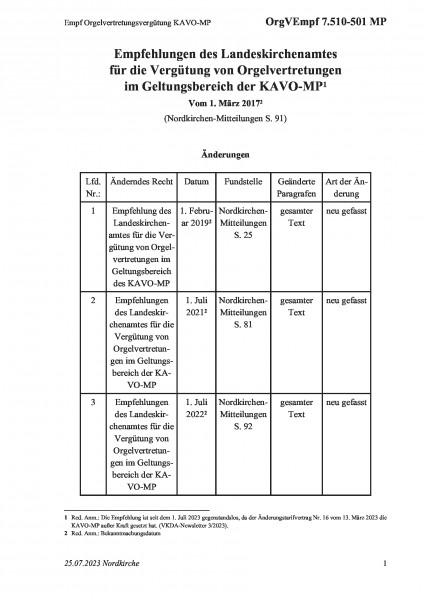 7.510-501 MP Empf Orgelvertretungsvergütung KAVO-MP