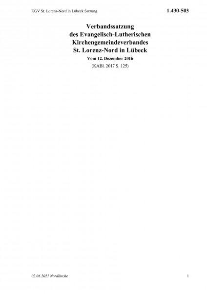 1.430-503 KGV St. Lorenz-Nord in Lübeck Satzung