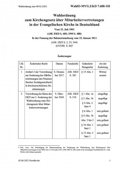7.600-101 Wahlordnung zum MVG.EKD
