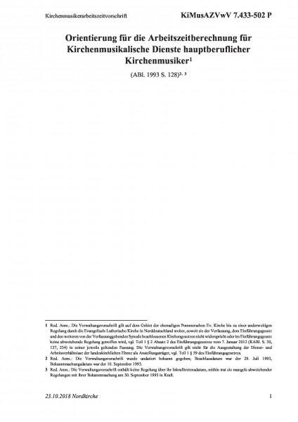 7.433-502 P Kirchenmusikerarbeitszeitvorschrift