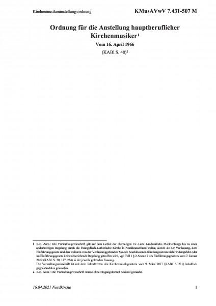 7.431-507 M Kirchenmusikeranstellungsordnung